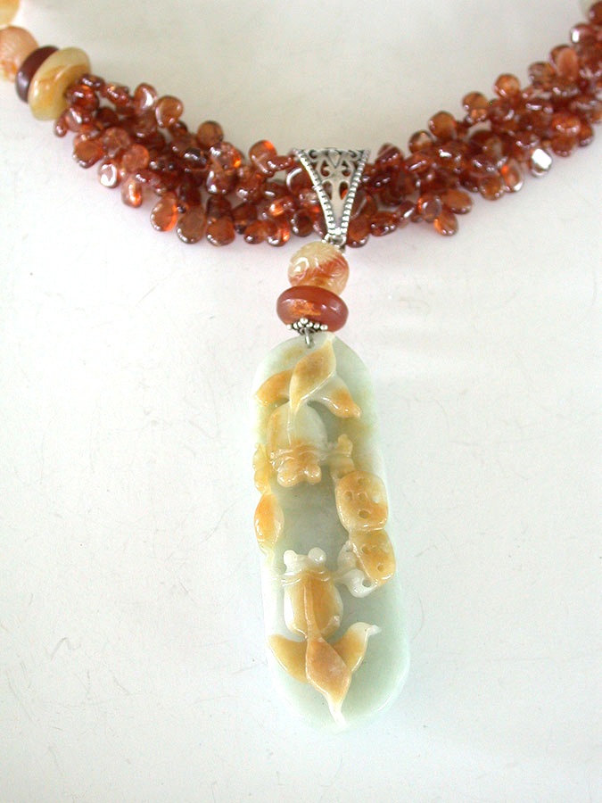 Amy Kahn Russell Online Trunk Show: Hand Carved Jade & Amber Necklace | Rendezvous Gallery