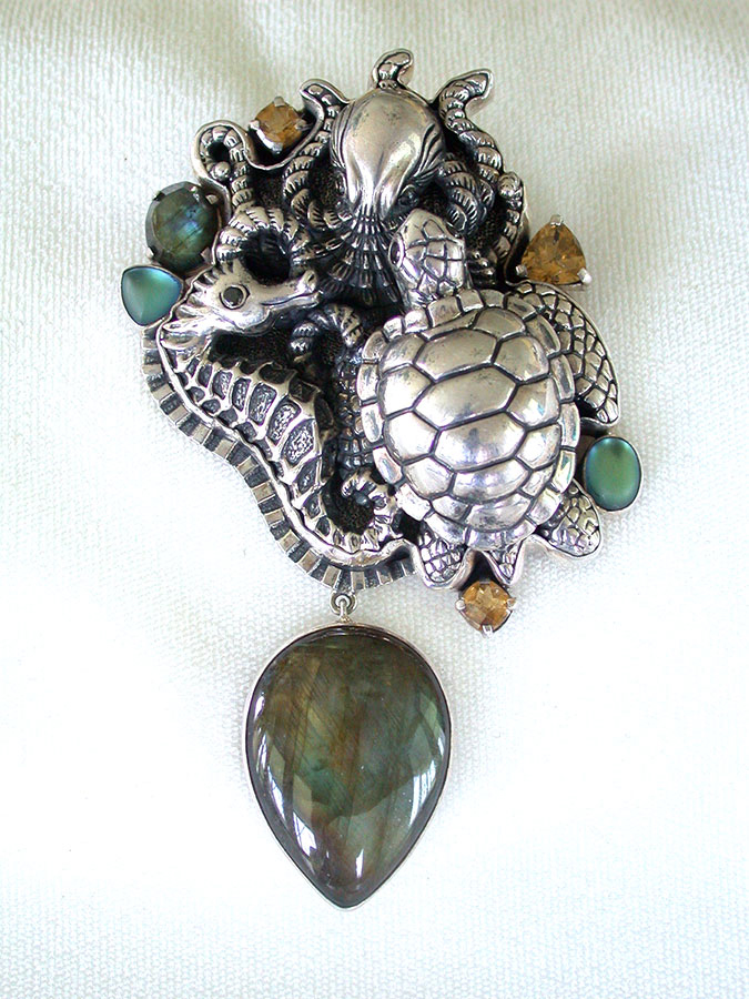 Amy Kahn Russell Online Trunk Show: Decorative Sterling Silver, Topaz & Labradorite Pin/Pendant | Rendezvous Gallery