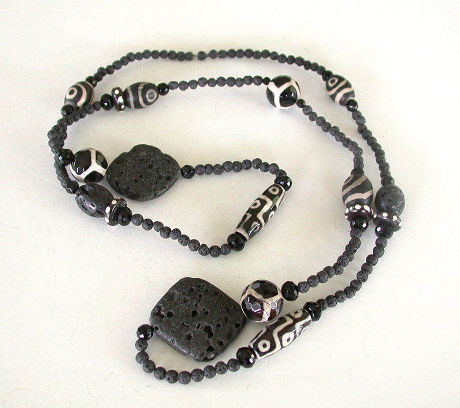 Amy Kahn Russell Online Trunk Show: Lava Stone, Bone, Black Onyx & Glass Necklace | Rendezvous Gallery