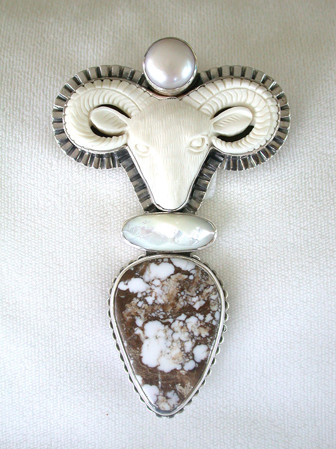 Amy Kahn Russell Online Trunk Show: Pearl, Carved Bone, Mother of Pearl & Jasper Pin/Pendant | Rendezvous Gallery