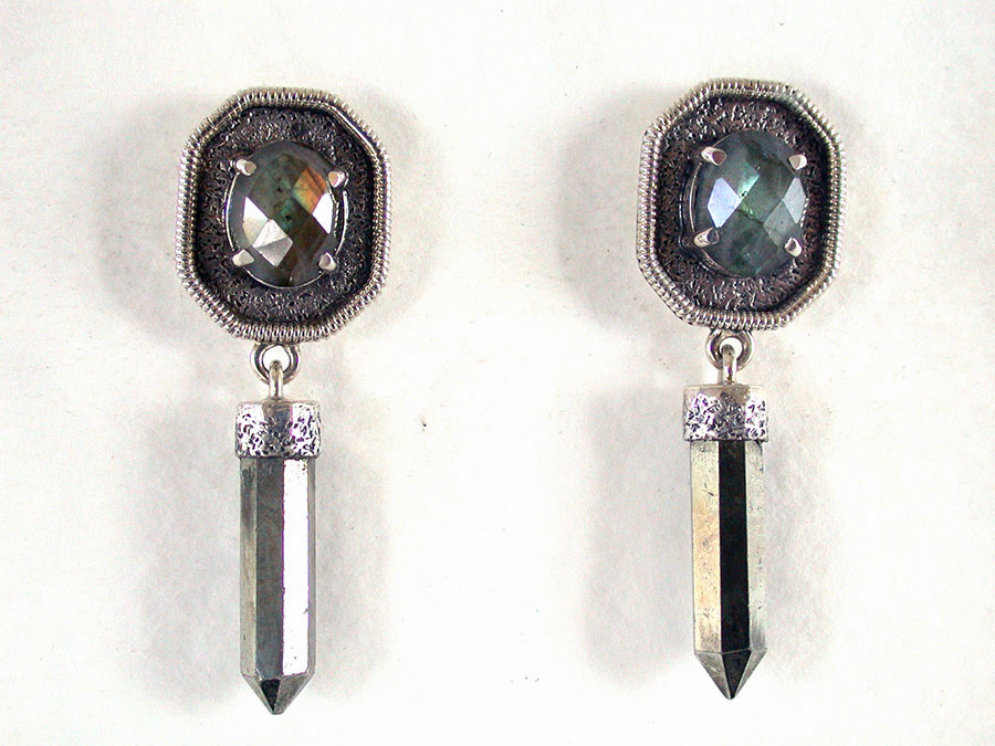 Amy Kahn Russell Online Trunk Show: Labradorite & Pyrite Post Earrings | Rendezvous Gallery