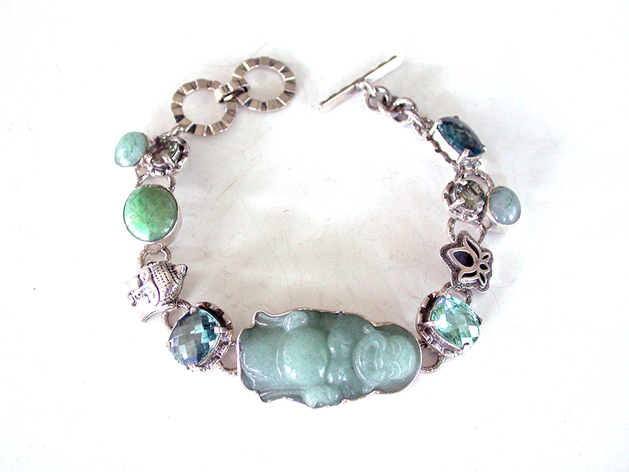 Amy Kahn Russell Online Trunk Show: Carved Jade, Green Quartz & Prehnite Bracelet | Rendezvous Gallery