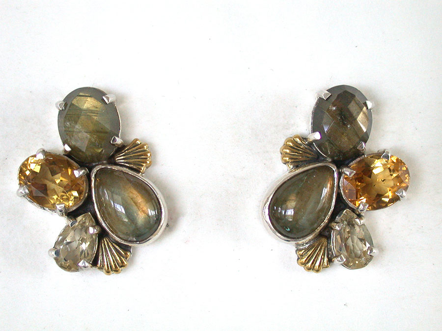 Amy Kahn Russell Online Trunk Show: Labradorite, Citrine & Quartz Post Earrings | Rendezvous Gallery