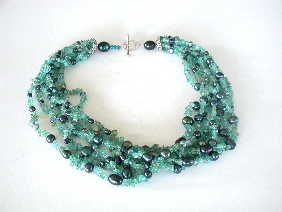 Amy Kahn Russell Online Trunk Show: Apatite & Freshwater Pearl Necklace | Rendezvous Gallery