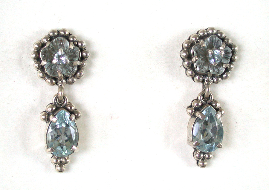Amy Kahn Russell Online Trunk Show: Carved Iolite & Blue Topaz Post Earrings | Rendezvous Gallery