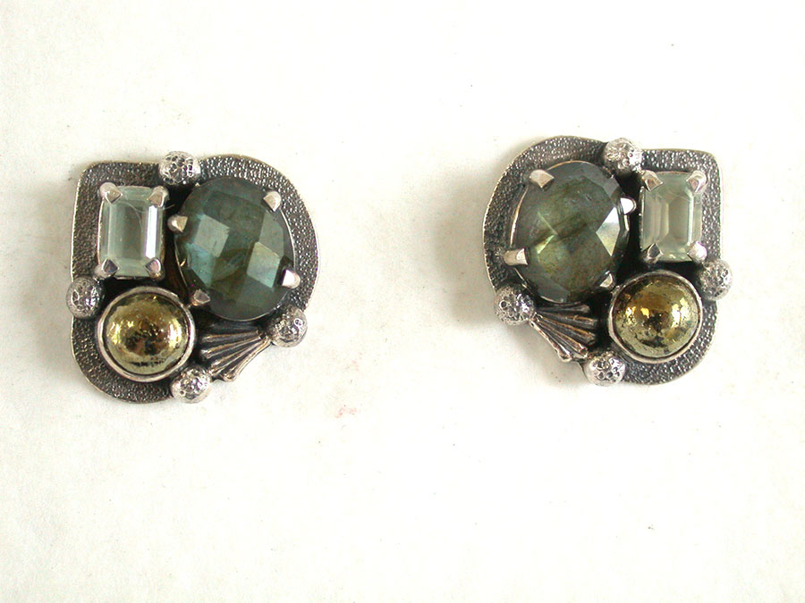 Amy Kahn Russell Online Trunk Show: Quartz, Labradorite & Chalco Pyrite Post Earrings | Rendezvous Gallery