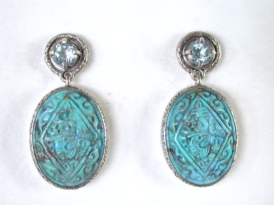 Amy Kahn Russell Online Trunk Show: Blue Topaz & Carved Turquoise Post Earrings | Rendezvous Gallery