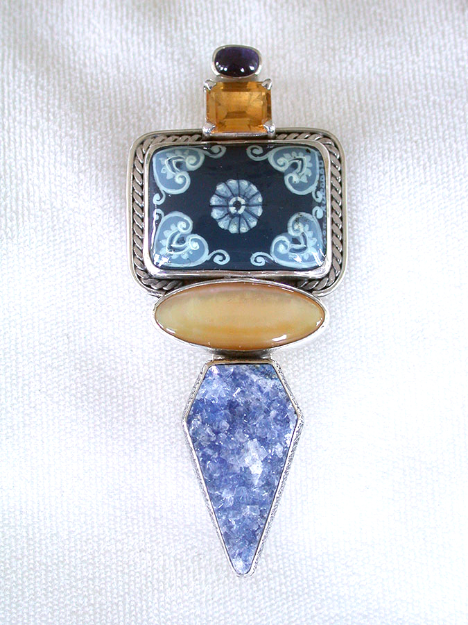 Amy Kahn Russell Online Trunk Show: Lapis, Hand Painted Miniature, Mabe Pearl & Drusy Pin/Pendant | Rendezvous Gallery