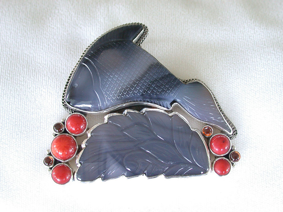 Amy Kahn Russell Online Trunk Show: Carved Botswana Agate, Garnet & Coral Pin/Pendant | Rendezvous Gallery