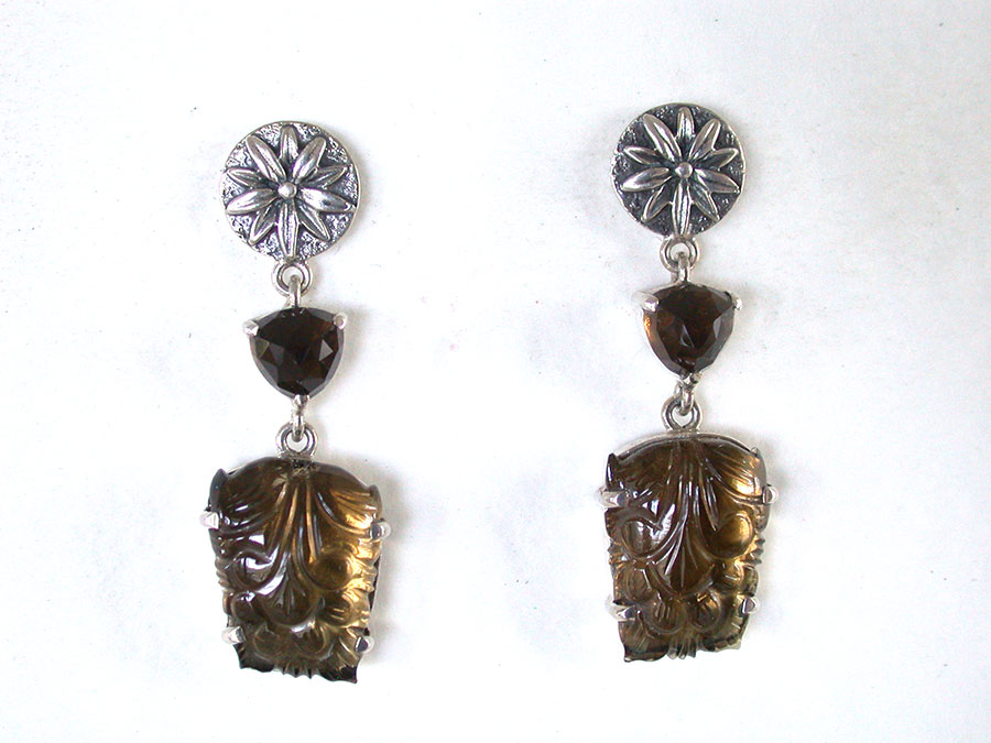 Amy Kahn Russell Online Trunk Show: Cognac Quartz & Carved Agate Post Earrings | Rendezvous Gallery