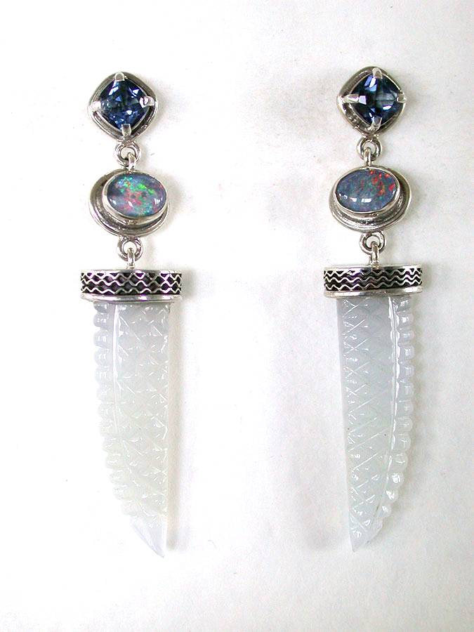 Amy Kahn Russell Online Trunk Show: Quartz, Opal & Chalcedony Post Earrings | Rendezvous Gallery