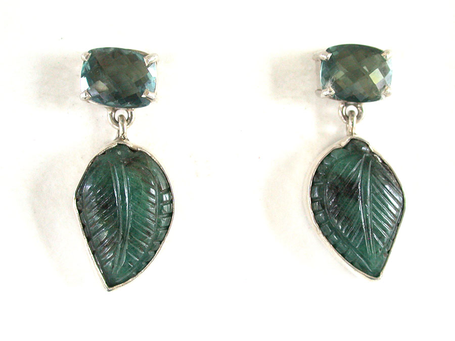 Amy Kahn Russell Online Trunk Show: Faceted Quartz & Carved Emerald Post Earrings | Rendezvous Gallery