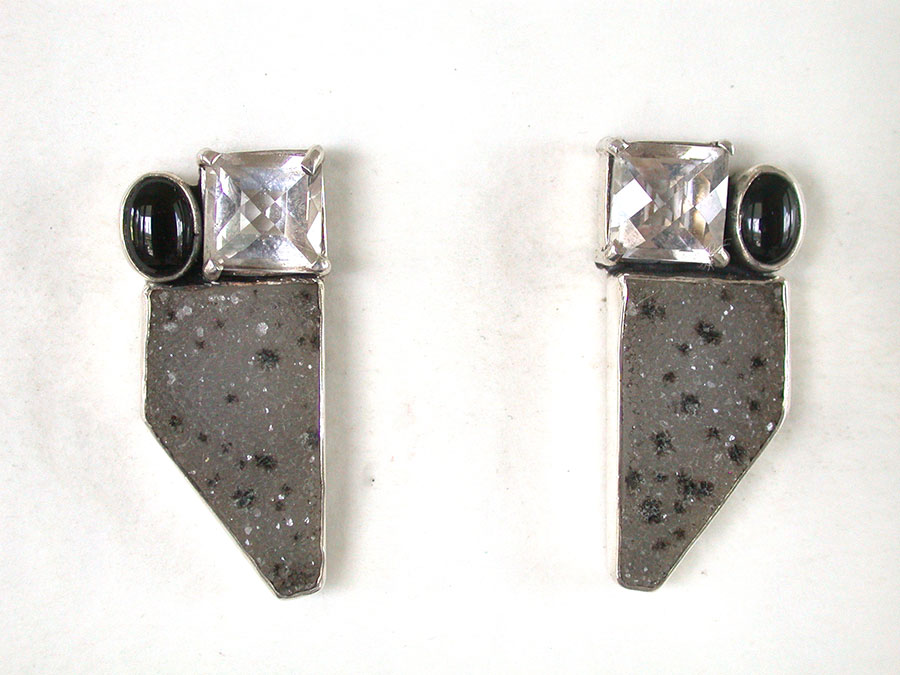 Amy Kahn Russell Online Trunk Show: Black Onyx, Quartz & Drusy Post Earrings | Rendezvous Gallery