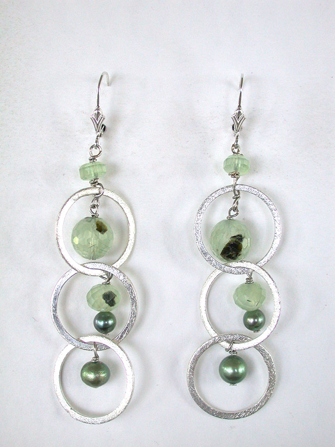 Amy Kahn Russell Online Trunk Show: Prehnite & Freshwater Pearl Earrings | Rendezvous Gallery