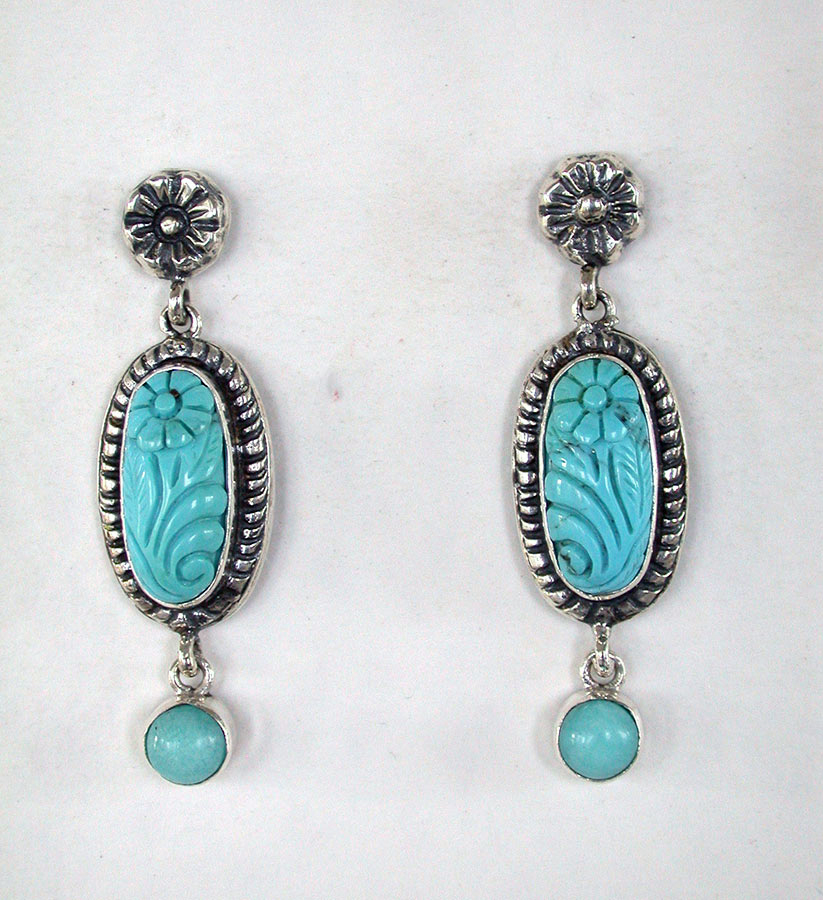 Amy Kahn Russell Online Trunk Show: Carved Turquoise Post Earrings | Rendezvous Gallery