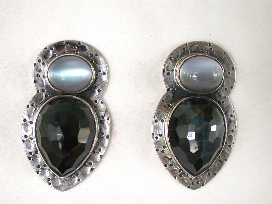 Amy Kahn Russell Online Trunk Show: Moonstone & Black Onyx Post Earrings | Rendezvous Gallery