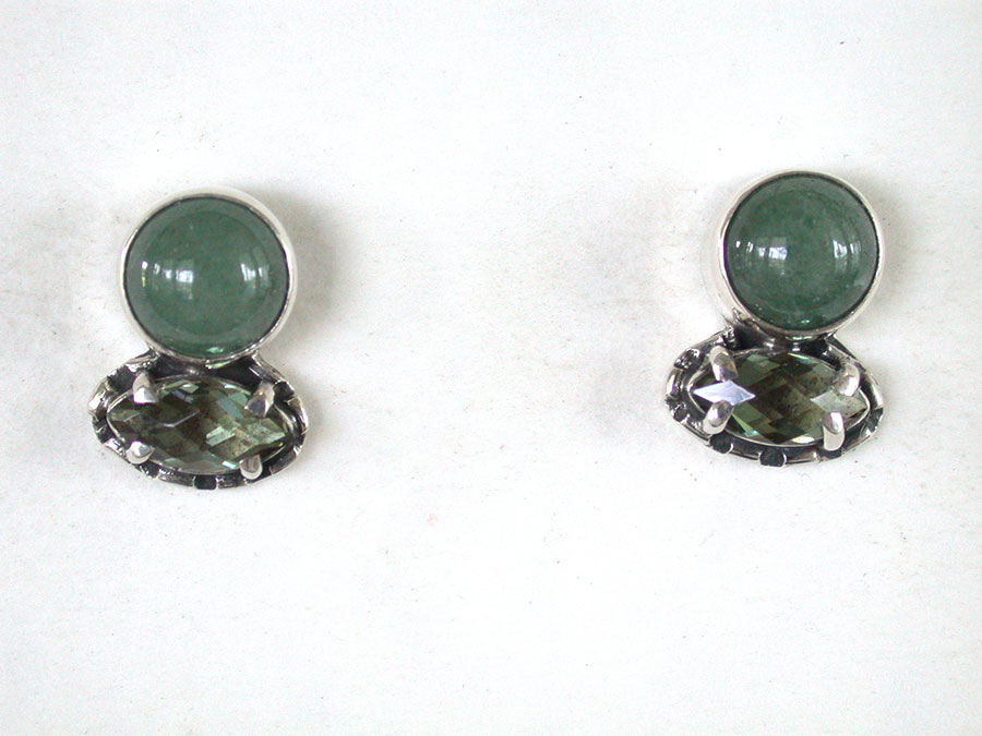 Amy Kahn Russell Online Trunk Show: Prehnite & Quartz Post Earrings | Rendezvous Gallery