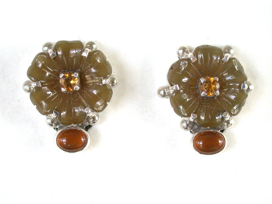Amy Kahn Russell Online Trunk Show: Carved Jade, Citrine & Hessonite Clip Earrings | Rendezvous Gallery