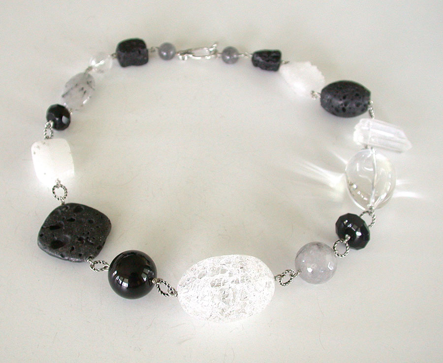 Amy Kahn Russell Online Trunk Show: Lava Stone, Rutilated Quartz, Crystal & Black Onyx Necklace | Rendezvous Gallery
