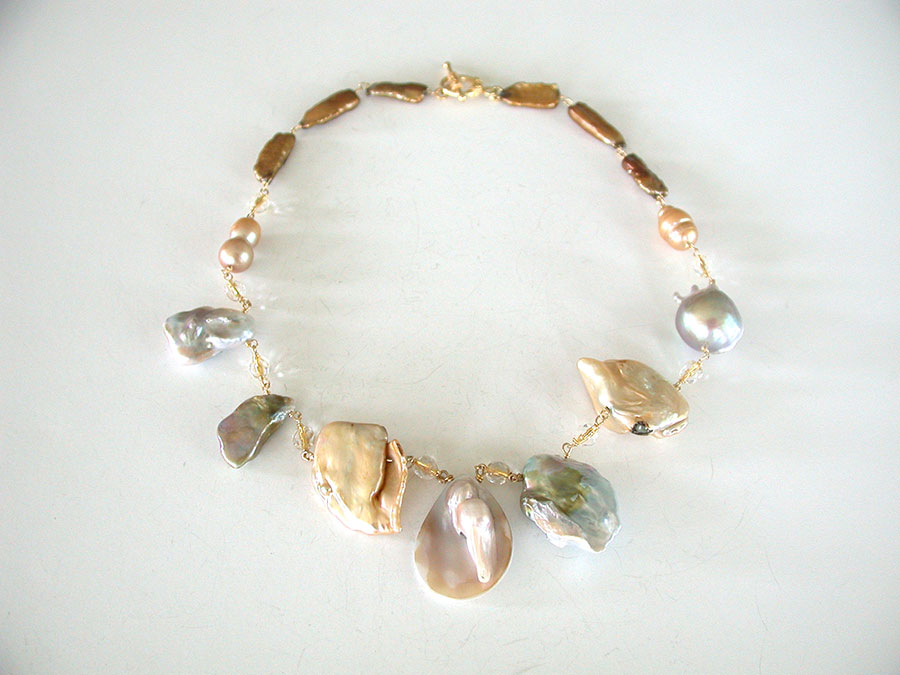 Amy Kahn Russell Online Trunk Show: Freshwater Pearl, Blister Pearl & Crystal Necklace | Rendezvous Gallery