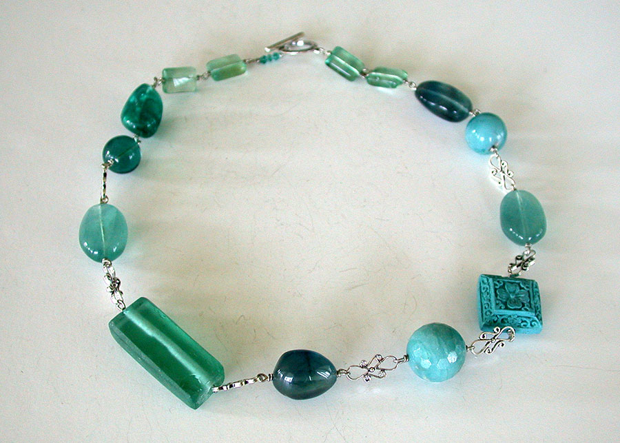 Amy Kahn Russell Online Trunk Show: Apatite, Amazonite & Reconstituted Turquoise Necklace | Rendezvous Gallery