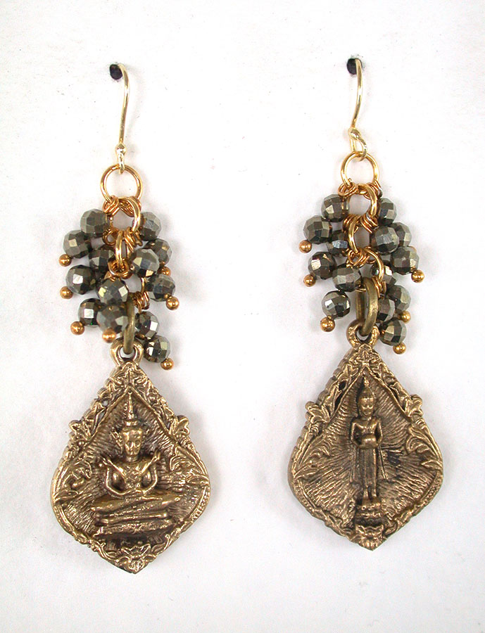 Amy Kahn Russell Online Trunk Show: Brass & Pyrite Earrings | Rendezvous Gallery