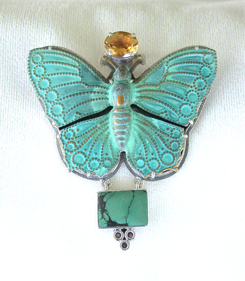 Amy Kahn Russell Online Trunk Show: Citrine, Brass & Turquoise Pin/Pendant | Rendezvous Gallery