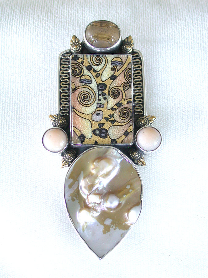 Amy Kahn Russell Online Trunk Show: Quartz, Gemstone Mosaic & Blister Pearl Pin/Pendant | Rendezvous Gallery