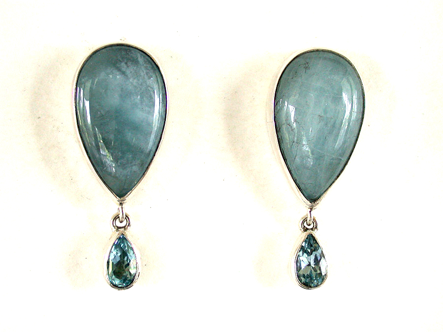 Amy Kahn Russell Online Trunk Show: Aquamarine & Blue Topaz Clip Earrings | Rendezvous Gallery