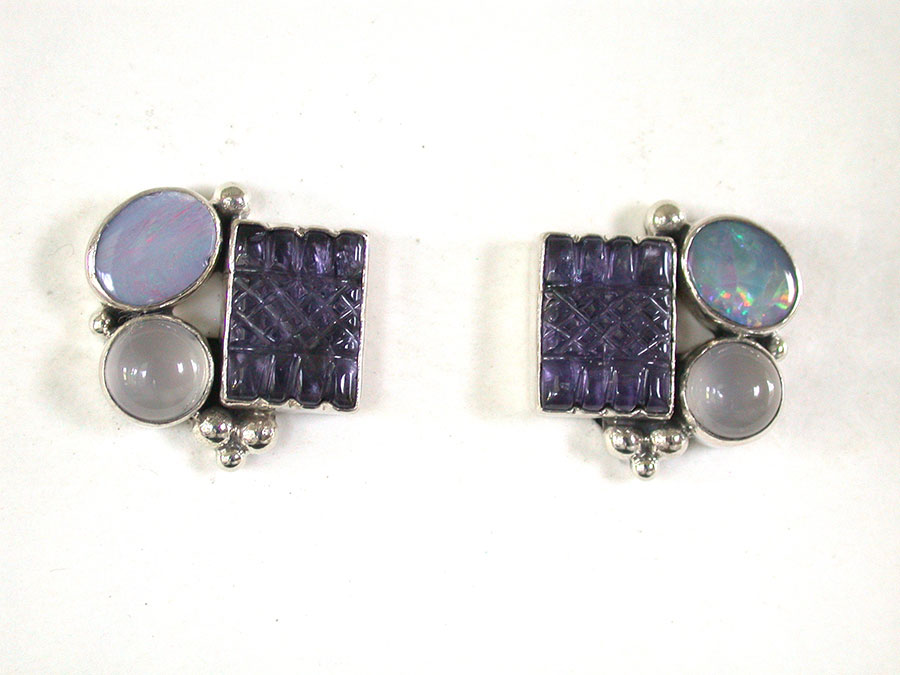 Amy Kahn Russell Online Trunk Show: Opal, Carved Iolite & Moonstone Clip Earrings | Rendezvous Gallery