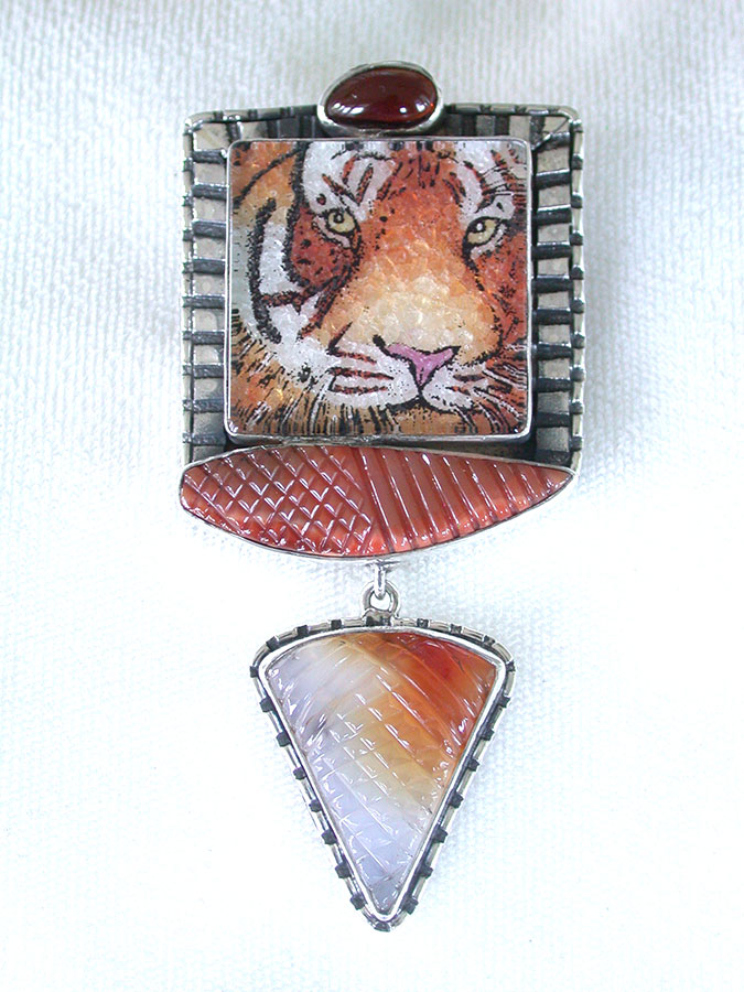 Amy Kahn Russell Online Trunk Show: Hessonite, Gemstone Mosaic & Carved Agate Pin/Pendant | Rendezvous Gallery