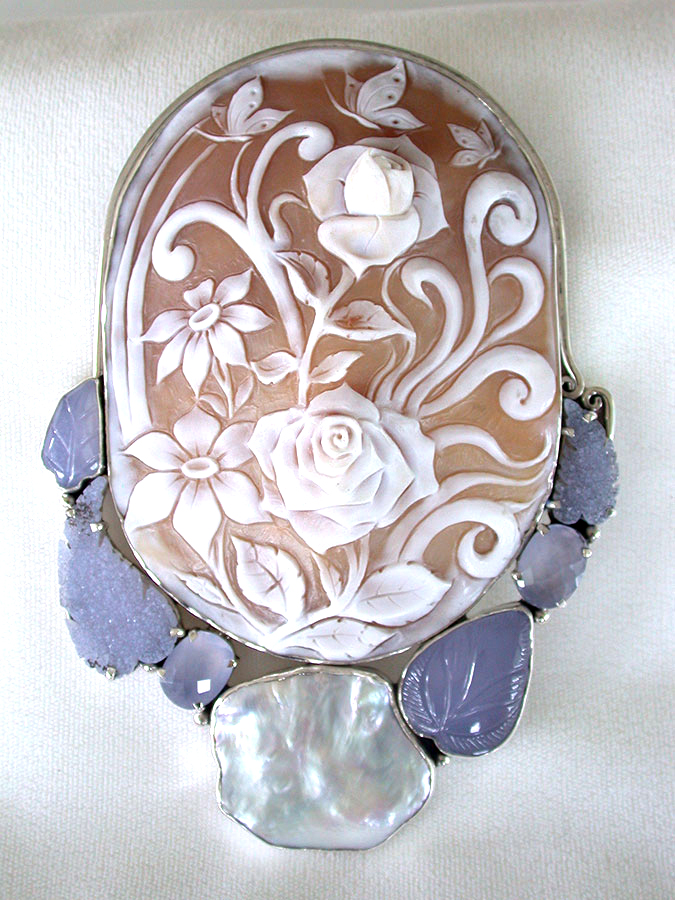 Amy Kahn Russell Online Trunk Show: Hand Carved Cameo, Freshwater Pearl, Chalcedony & Drusy Pin/Pendant | Rendezvous Gallery