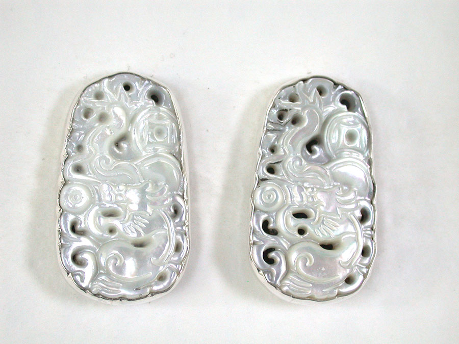 Amy Kahn Russell Online Trunk Show: Hand Carved Mother of Pearl Clip Earrings | Rendezvous Gallery