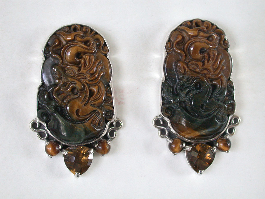 Amy Kahn Russell Online Trunk Show: Carved Tiger Eye Quartz Post Earrings | Rendezvous Gallery