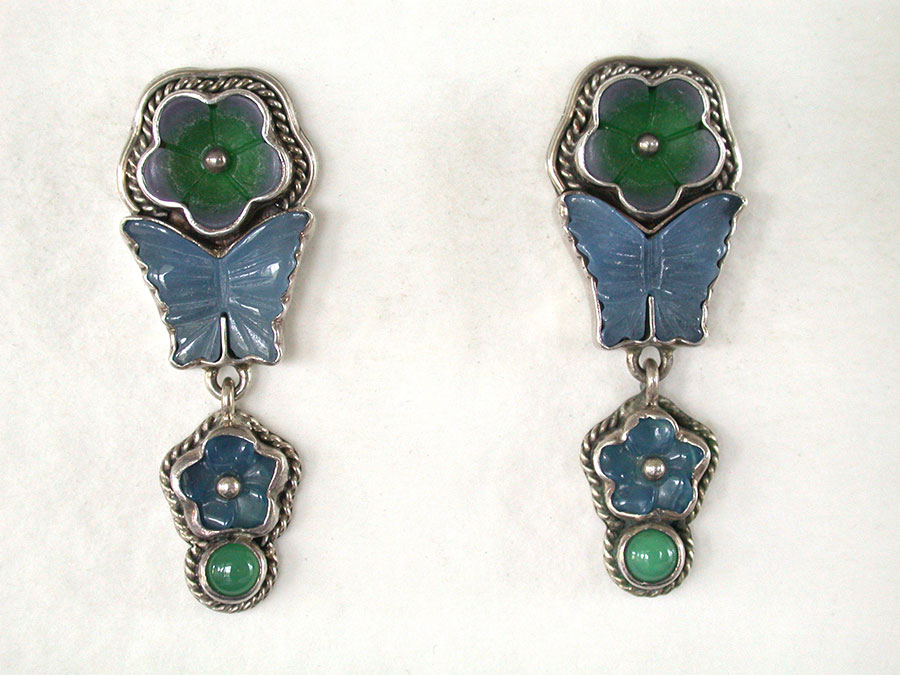 Amy Kahn Russell Online Trunk Show: Carved Blue Onyx, Green Onyx & Chrysoprase Post Earrings | Rendezvous Gallery