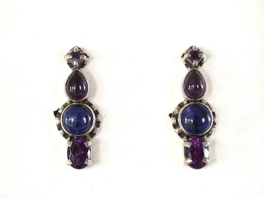 Amy Kahn Russell Online Trunk Show: Amethyst & Lapis Lazuli Clip Earrings | Rendezvous Gallery