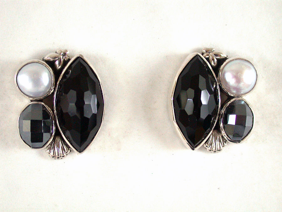 Amy Kahn Russell Online Trunk Show: Freshwater Pearl, Black Onyx & Hematite Post Earrings | Rendezvous Gallery