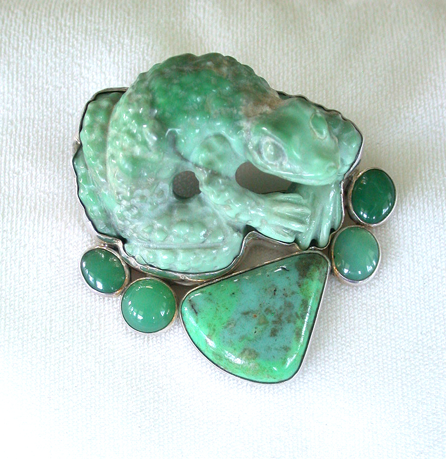 Amy Kahn Russell Online Trunk Show:  Hand Carved Turquoise & Chrysoprase Pin/Pendant | Rendezvous Gallery