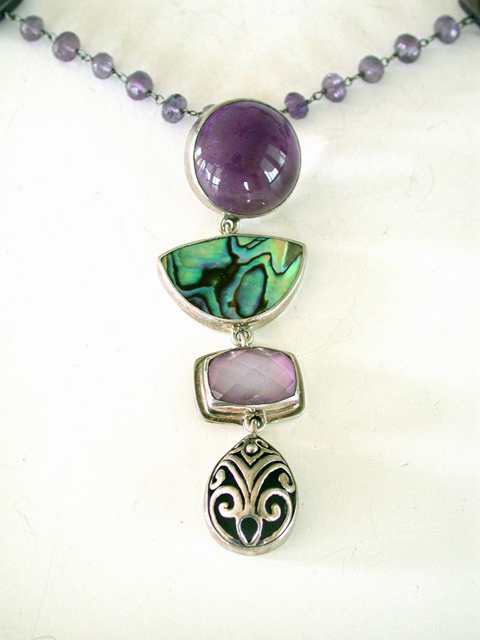 Amy Kahn Russell Online Trunk Show: Amethyst, Abalone & Quartz Necklace | Rendezvous Gallery