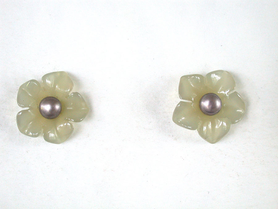 Amy Kahn Russell Online Trunk Show: Carved Jade & Freshwater Pearl Post Earrings | Rendezvous Gallery