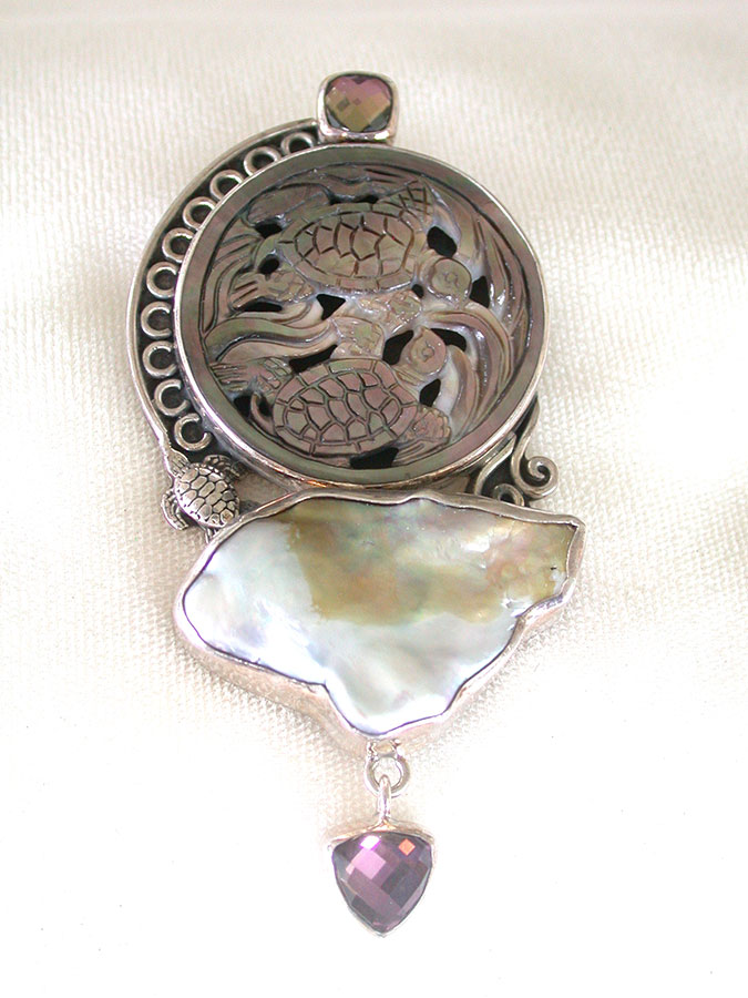 Amy Kahn Russell Online Trunk Show: Carved Mother of Pearl, Freshwater Pearl & Smoky Quartz Pin/Pendant | Rendezvous Gallery