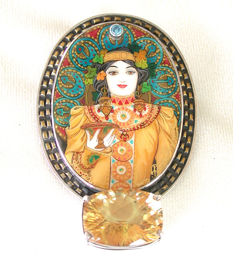 Amy Kahn Russell Online Trunk Show: Russian Hand Painting on Mother of Pearl & Topaz Pin/Pendant | Rendezvous Gallery