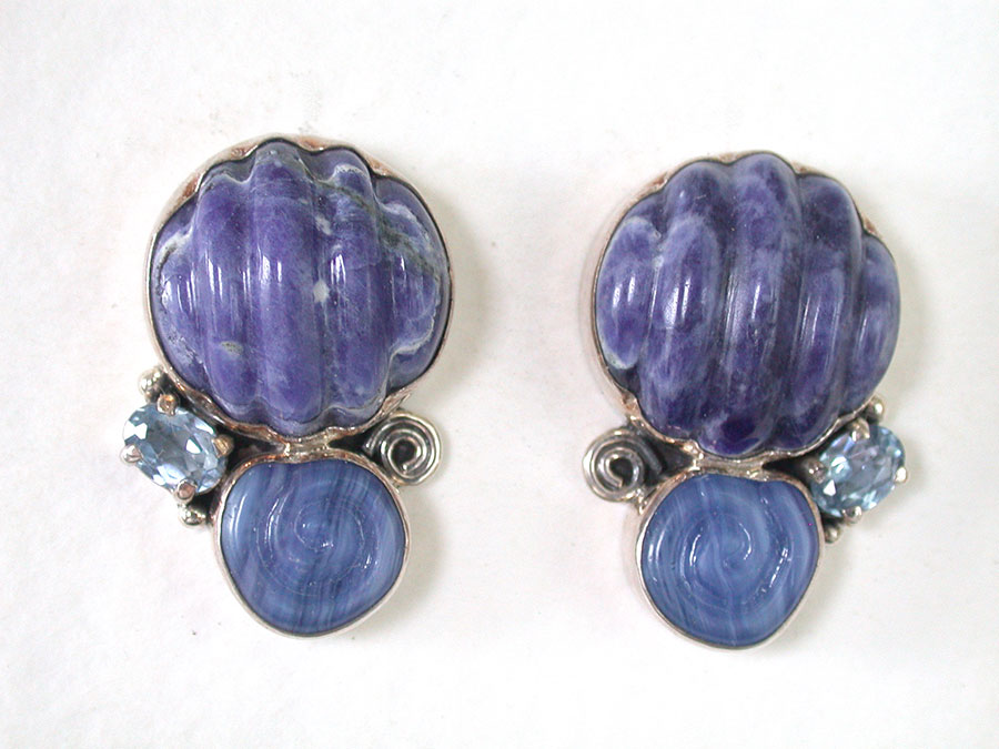 Amy Kahn Russell Online Trunk Show: Carved Sodalite & Blue Topaz Clip Earrings | Rendezvous Gallery
