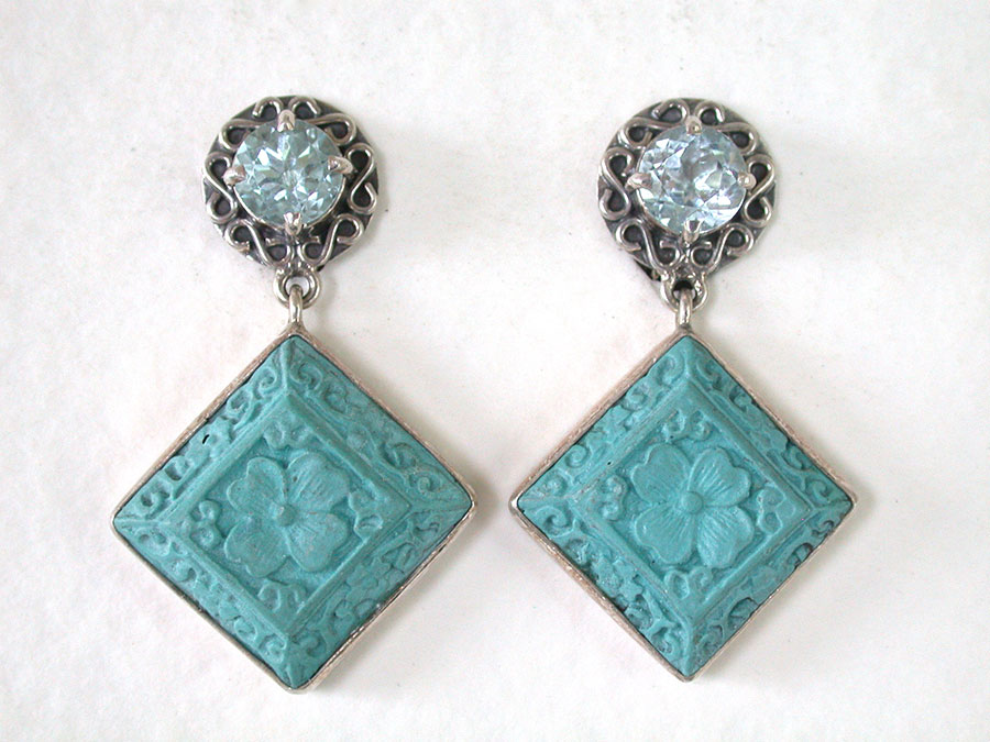 Amy Kahn Russell Online Trunk Show: Blue Topaz & Carved Cinnabar Clip Earrings | Rendezvous Gallery
