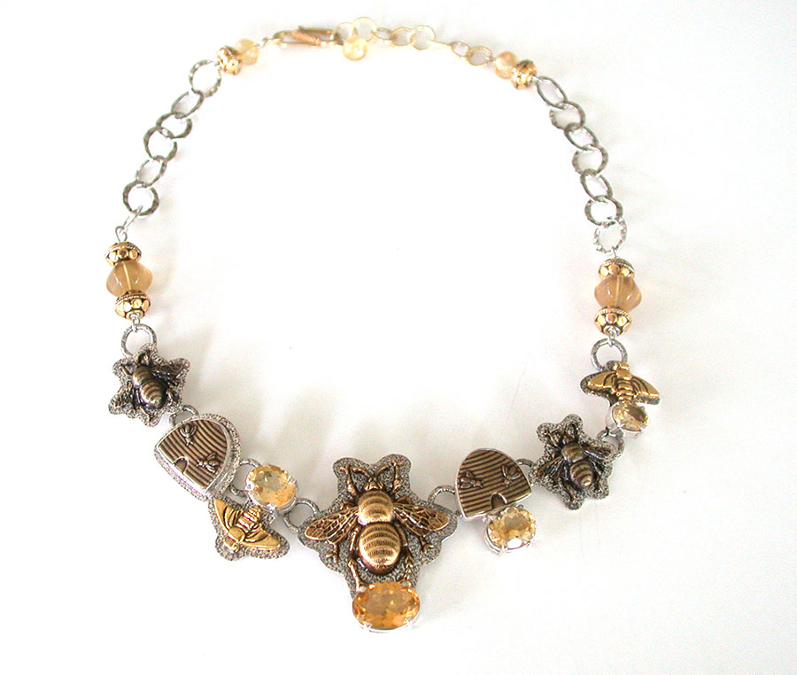 Amy Kahn Russell Online Trunk Show: Citrine, Brass & Sterling Silver Necklace | Rendezvous Gallery