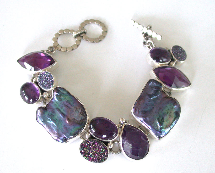 Amy Kahn Russell Online Trunk Show: Amethyst, Freshwater Pearl & Drusy Bracelet | Rendezvous Gallery