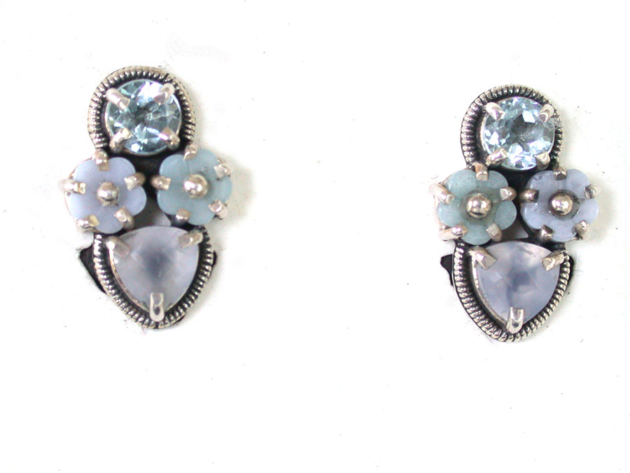 Amy Kahn Russell Online Trunk Show: Blue Topaz & Chalcedony Clip Earrings | Rendezvous Gallery