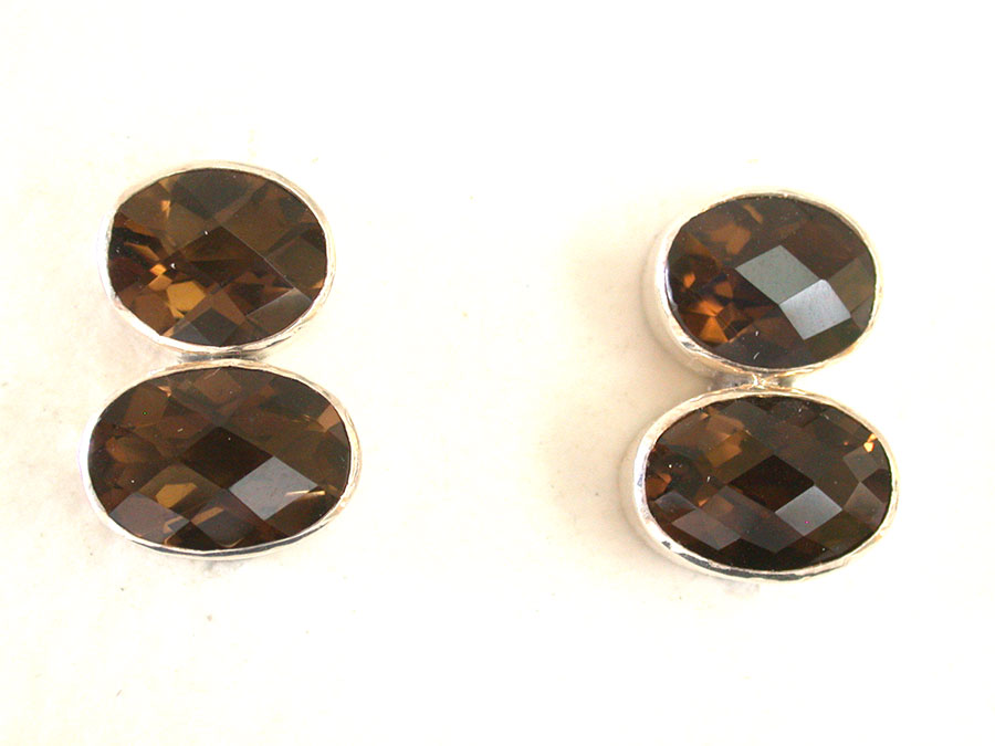 Amy Kahn Russell Online Trunk Show: Faceted Cognac Quartz Clip Earrings | Rendezvous Gallery