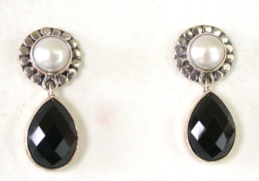 Amy Kahn Russell Online Trunk Show: Freshwater Pearl & Black Onyx Post Earrings | Rendezvous Gallery