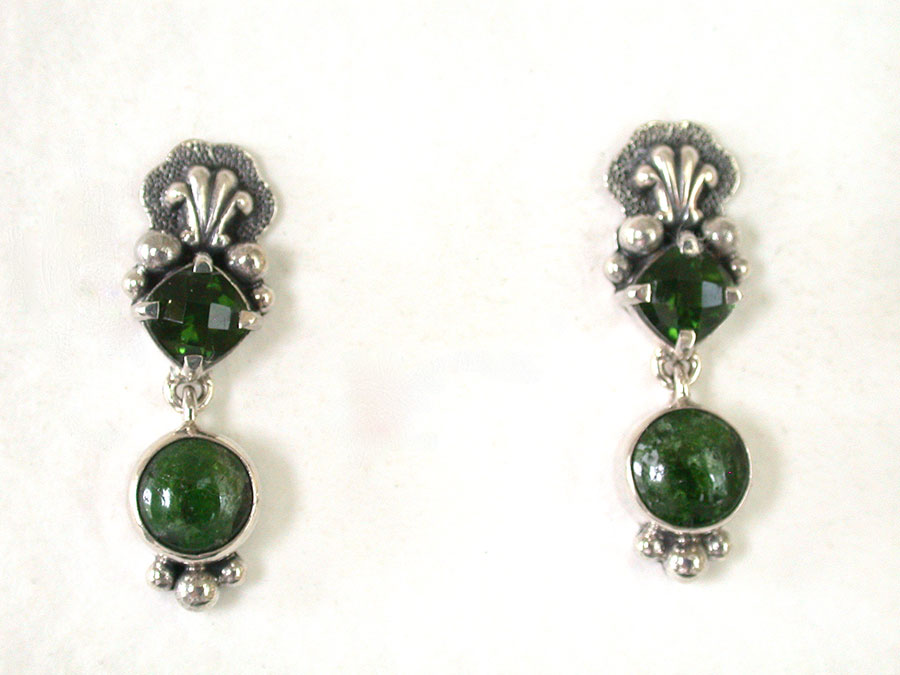 Amy Kahn Russell Online Trunk Show: Quartz & Chrome Diopside Post Earrings | Rendezvous Gallery